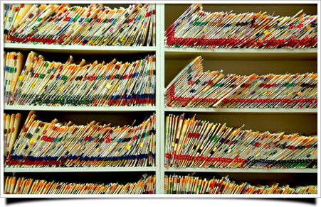 shelves of medical charts